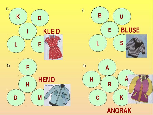 K I D L E C E U L S B E H D M N R A O K A KLEID BLUSE HEMD ANORAK 1) 2) 3) 4)