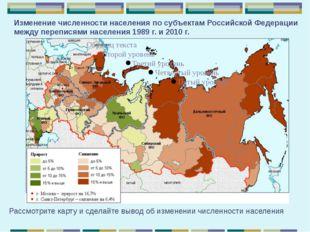 Изменение численности населения по субъектам РоссийскойФедерации между переп