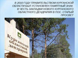 В 2010 ГОДУ ПРАВИТЕЛЬСТВОМ КУРГАНСКОЙ ОБЛАСТИ БЫЛ УСТАНОВЛЕН ПАМЯТНЫЙ ЗНАК В