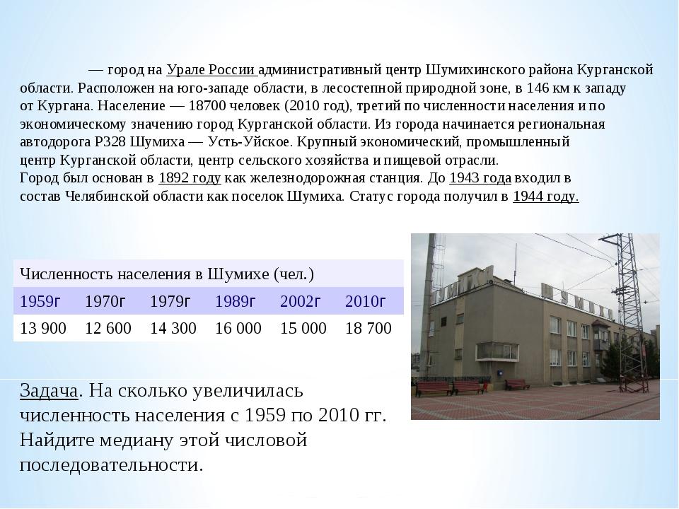 Шуми́ха— город наУрале России административный центрШумихинского района Ку...