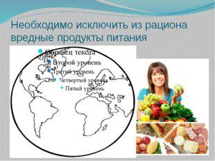Необходимо исключить из рациона вредные продукты питания