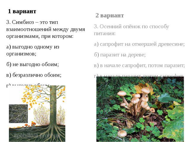 1 вариант 3. Симбиоз – это тип взаимоотношений между двумя организмами, при...