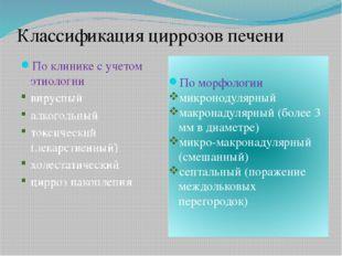 Классификация циррозов печени По клинике с учетом этиологии вирусный алкоголь