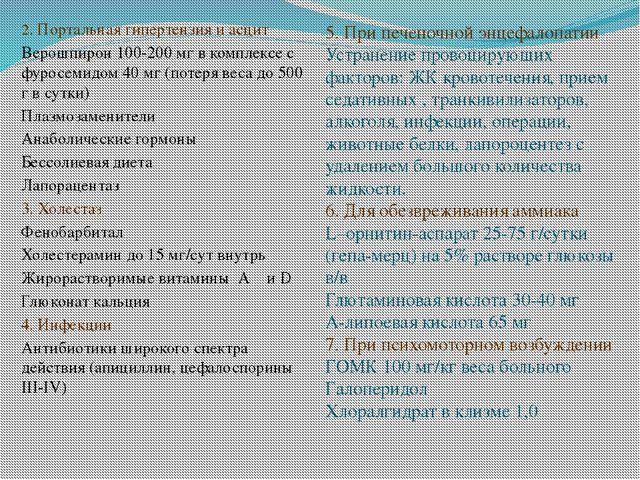 2. Портальная гипертензия и асцит Верошпирон 100-200 мг в комплексе с фуросе...