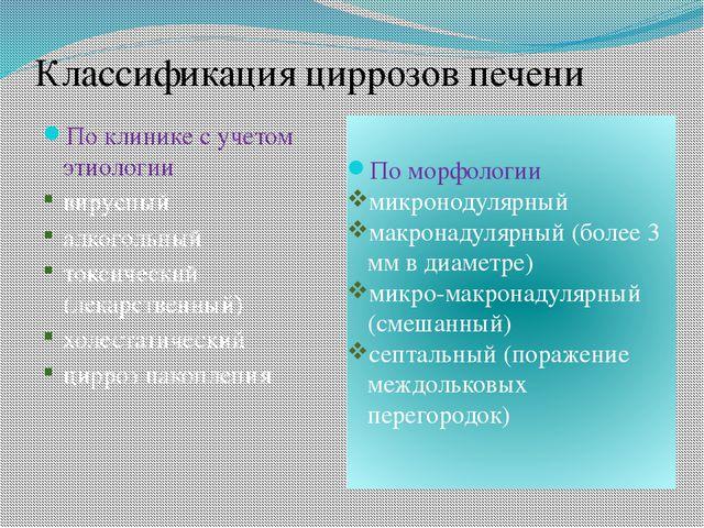 Классификация циррозов печени По клинике с учетом этиологии вирусный алкоголь...