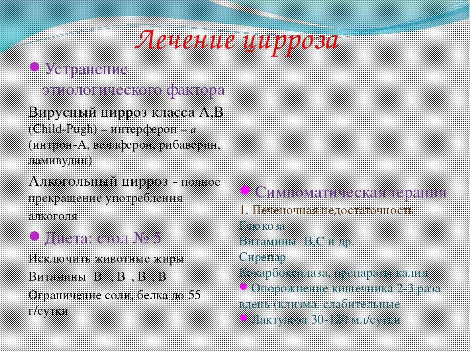 Лечение цирроза Устранение этиологического фактора Вирусный цирроз класса А,В...