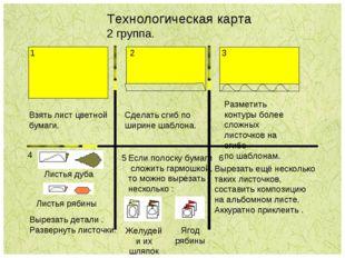 Технологическая карта 2 группа. 1 3 Взять лист цветной бумаги. Сделать сгиб п