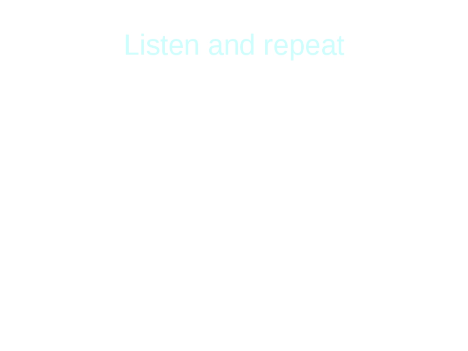 Listen and repeat spring autumn green yellow cool wet summer winter bright wh...