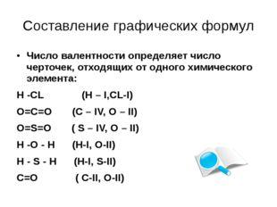 Составление графических формул Число валентности определяет число черточек, о