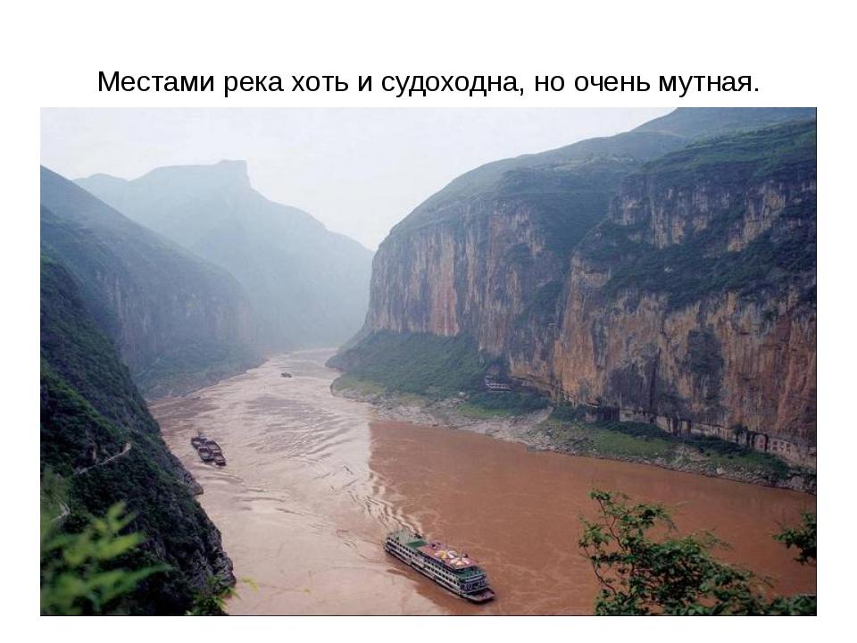 Местами река хоть и судоходна, но очень мутная.