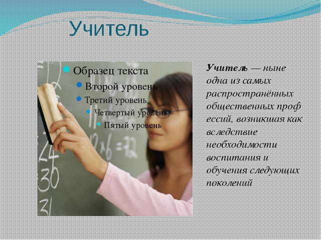 Учитель Учитель— ныне одна из самых распространённых общественныхп...
