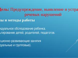 Цель: Предупреждение, выявление и устранение речевых нарушений. Формы и метод