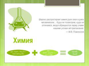 Химия Широко распростирает химия руки свои в дела человеческие… Куда ни посмо