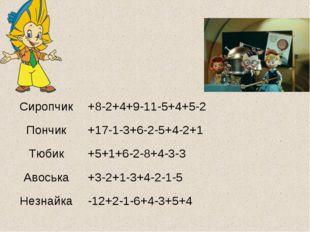 Сиропчик+8-2+4+9-11-5+4+5-2 Пончик+17-1-3+6-2-5+4-2+1 Тюбик+5+1+6-2-8+4-