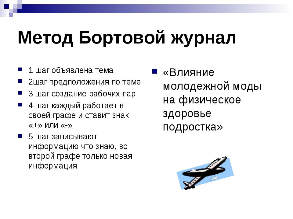 Метод Бортовой журнал 1 шаг объявлена тема 2шаг предположения по теме 3 шаг с...
