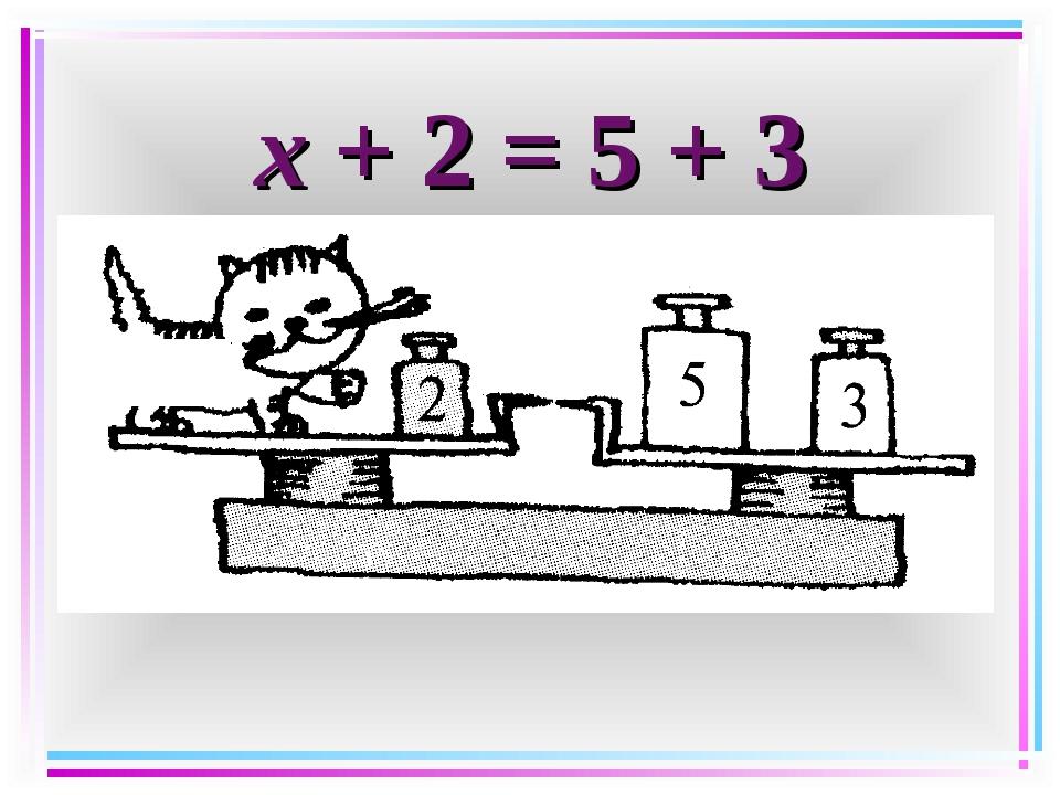 х + 2 = 5 + 3