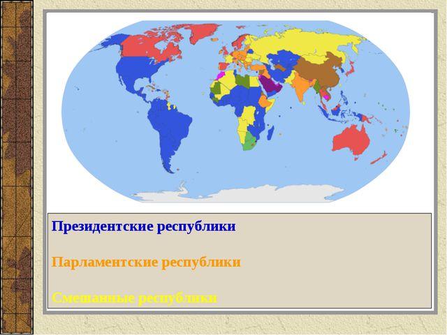Президентские республики Парламентские республики Смешанные республики