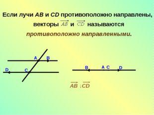 Если лучи AB и CD противоположно направлены, векторы  и  называются