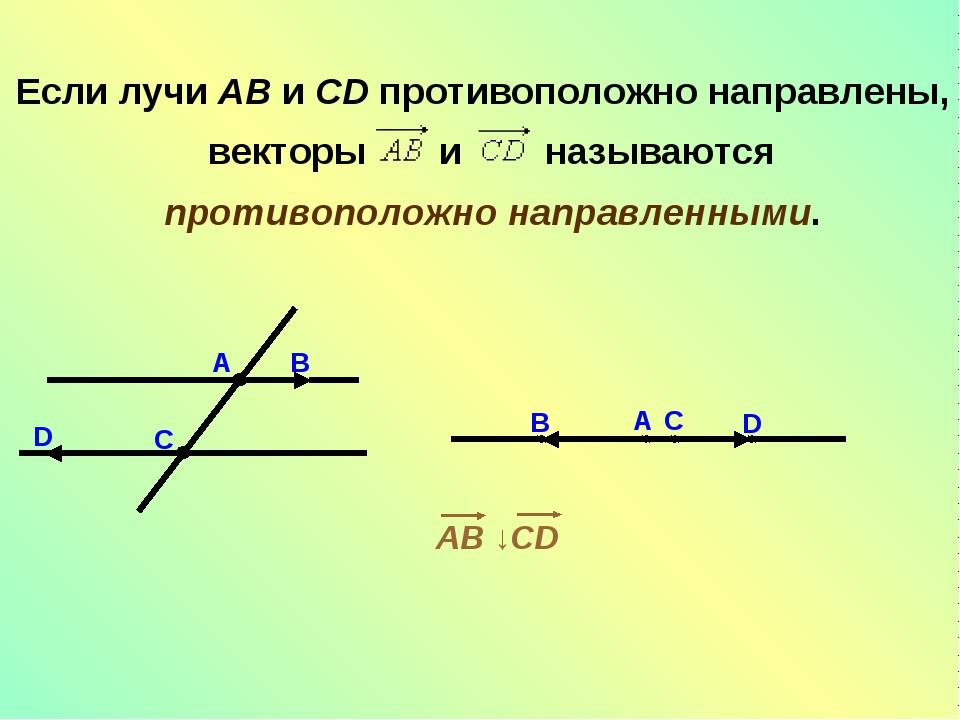 Если лучи AB и CD противоположно направлены, векторы  и  называются...