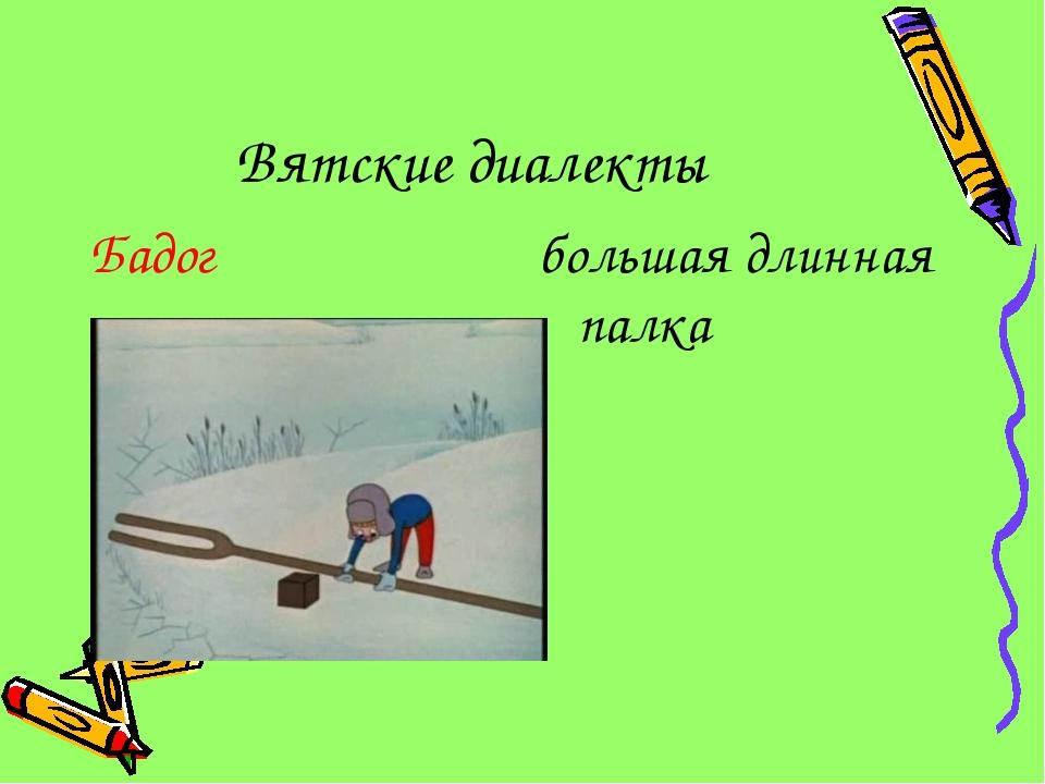 Вятские диалекты Бадог большая длинная палка