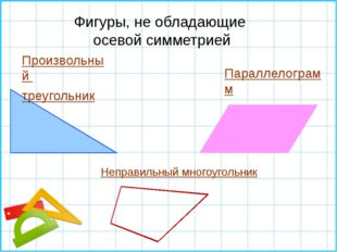 Произвольный треугольник Параллелограмм Фигуры, не обладающие осевой симметр