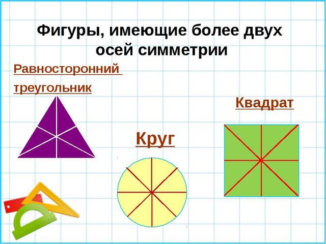 Фигуры, имеющие более двух осей симметрии Равносторонний треугольник Круг Кв...