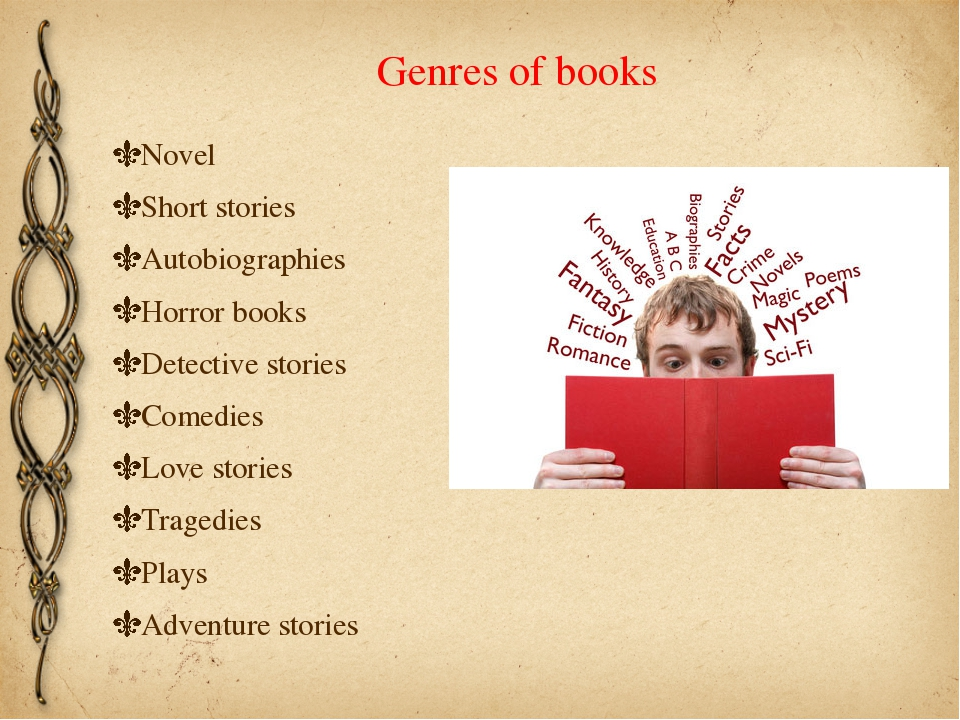 Genres of books Novel Short stories Autobiographies Horror books Detective st...