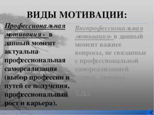 ВИДЫ МОТИВАЦИИ: Профессиональная мотивация - в данный момент актуальна профес