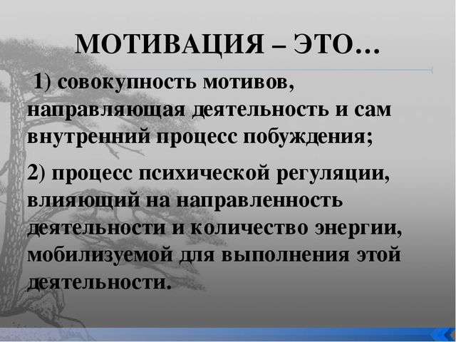 МОТИВАЦИЯ – ЭТО… 1) совокупность мотивов, направляющая деятельность и сам вну...