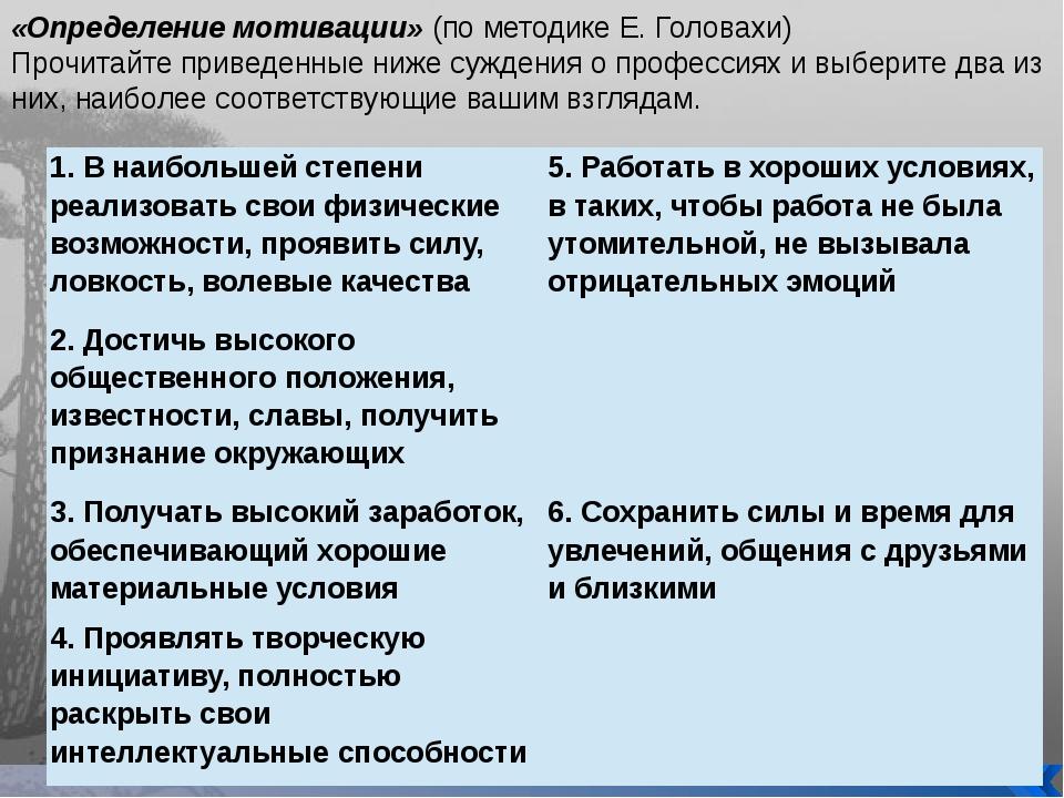 «Определение мотивации» (по методике Е. Головахи) Прочитайте приведенные ниже...
