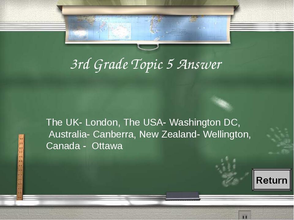 3rd Grade Topic 5 Answer The UK- London, The USA- Washington DC, Australia- C...