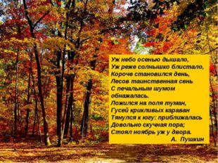 А.С.Пушкин Оренбурге Уж небо осенью дышало, Уж реже солнышко блистало, Короче