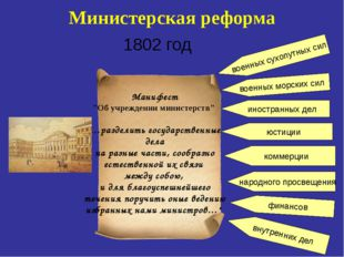 """Министерская реформа 1802 год Манифест """"Об учреждении министерств"""" «…разделит"""