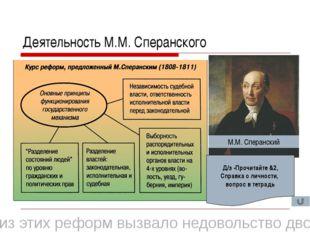 Деятельность М.М. Сперанского М.М. Сперанский Что из этих реформ вызвало недо