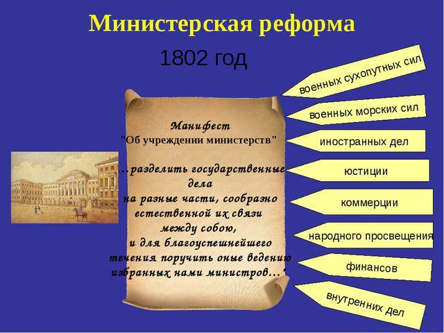 """Министерская реформа 1802 год Манифест """"Об учреждении министерств"""" «…разделит..."""