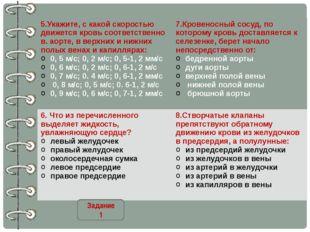 Задание 1 5.Укажите, с какой скоростью движется кровь соответственно в. аорте