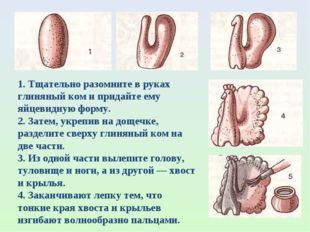 1. Тщательно разомните в руках глиняный ком и придайте ему яйцевидную форму.