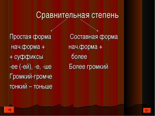 Сравнительная степень Простая форма Составная форма нач.форма + нач.форма + +...