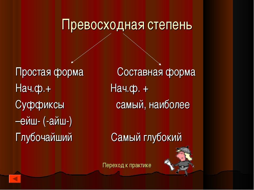 Превосходная степень Простая форма Составная форма Нач.ф.+ Нач.ф. + Суффиксы...