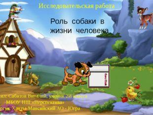 Роль собаки в жизни человека Выполнил: Сабитов Виталий, ученик 2И класса МБОУ