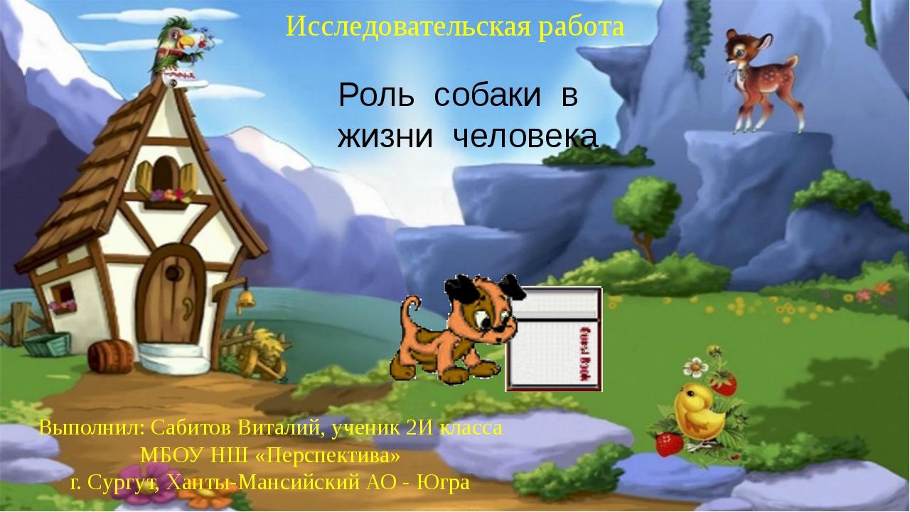 Роль собаки в жизни человека Выполнил: Сабитов Виталий, ученик 2И класса МБОУ...