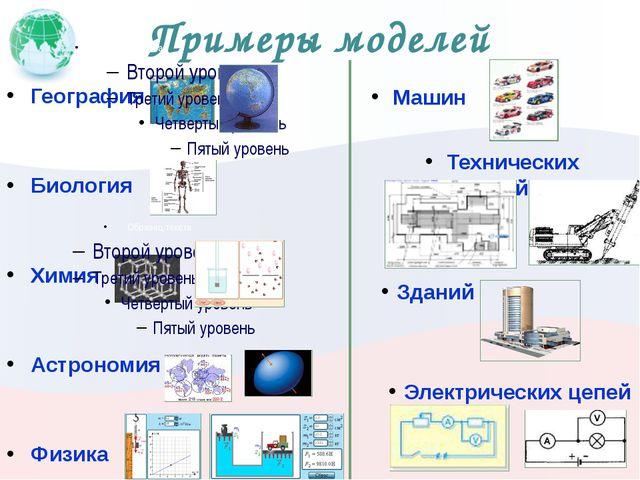 Примеры моделей География Биология Химия Астрономия Физика Машин Технических...