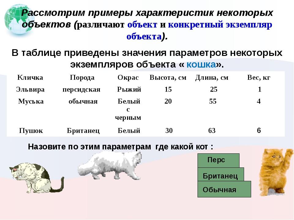 Рассмотрим примеры характеристик некоторых объектов (различают объект и конк...