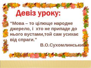 """""""Мова – то цілюще народне джерело, і хто не припаде до нього вустами,той сам"""