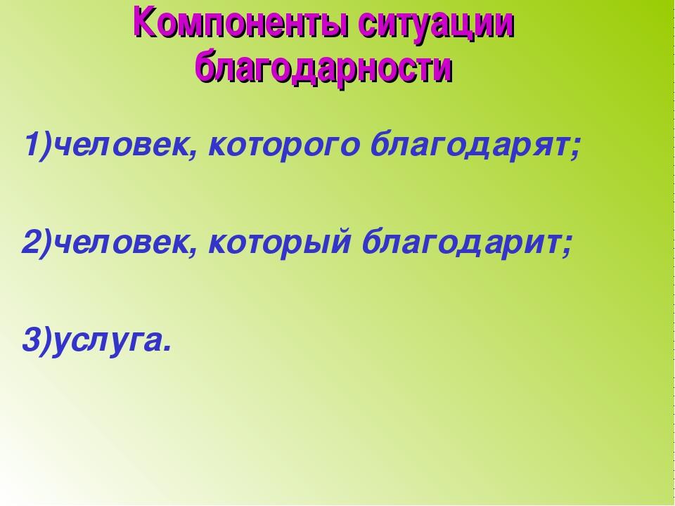 Компоненты ситуации благодарности 1)человек, которого благодарят; 2)человек,...