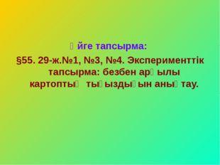 Үйге тапсырма: §55. 29-ж.№1, №3, №4. Эксперименттік тапсырма: безбен арқылы к