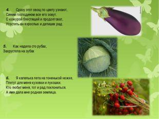 4.Сразу этот овощ по цвету узнают, Синим господином все его зовут. С ко