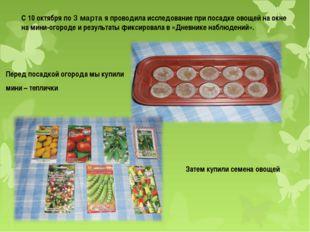 С 10 октября по 3 марта я проводила исследование при посадке овощей на окне н