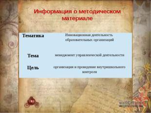 Информация о методическом материале Тематика Инновационнаядеятельность образо