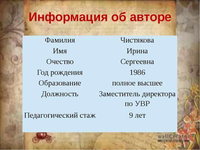 Информация об авторе Фамилия Чистякова Имя Ирина Очество Сергеевна Год рожден...